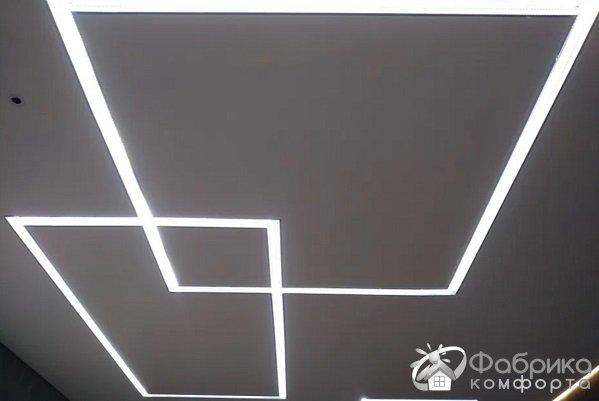 Натяжные потолки и световые линии